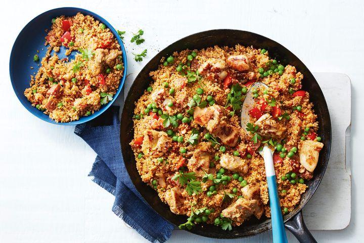 Recipe of 15-minute chicken, chorizo and couscous paella